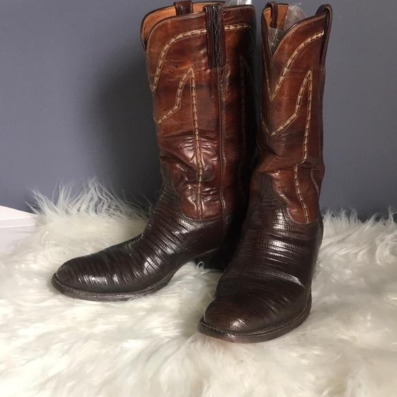 dab02a97822 Vintage Lucchese lizard & goat cowboy boots 8.5 D